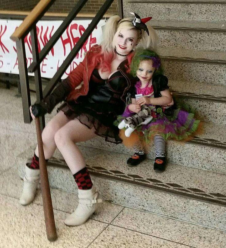 Harley Quinn baby Duela Dent Joker Puddin Mother Daughter Cosplay Costume Cosplaying Around Hair Makeup Punk