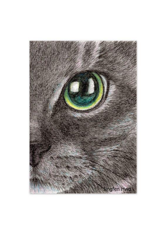 lifelike drawing in aqua colored pencil a black cat by JingfenHwu