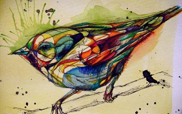 Витражный птах