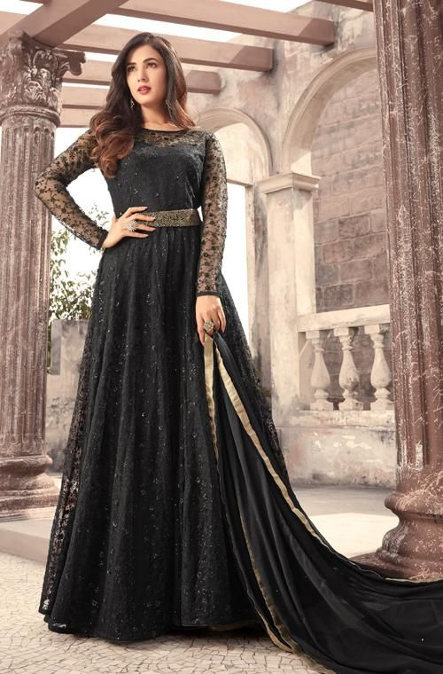 a7f47b6a7 Black Designer Embroidered Net Party Wear Anarkali Suit in 2019 ...
