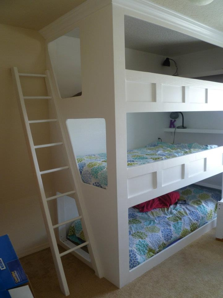 Cutest triple bunk ever - must figure out a way to make this on the cheap for the girls.