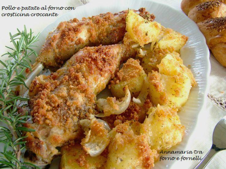Il Pollo e patate al forno croccanti io lo preparo così,con una deliziosa crosticina per dare un tocco in più ad un piatto già molto buono di suo.