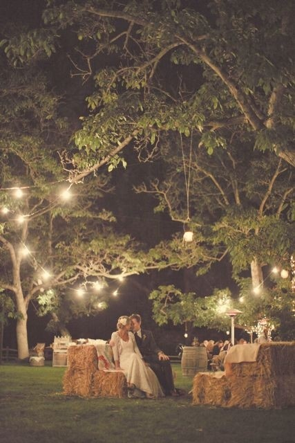 I like the idea of bales of hay for seating at an autumn, outdoor reception.