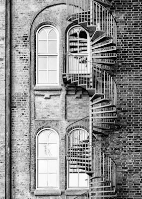 Marianne Brattberg - The exit, spiral stairs, black & white photo art, prints & posters