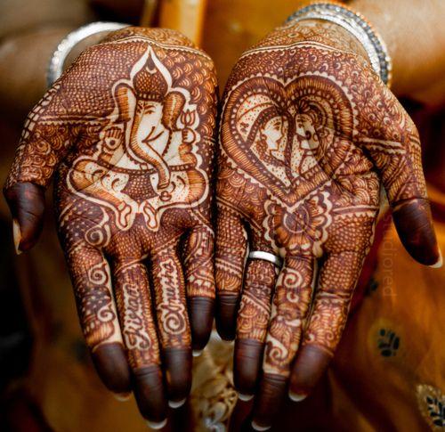 Hand - traditional bridal designs, ganesh.