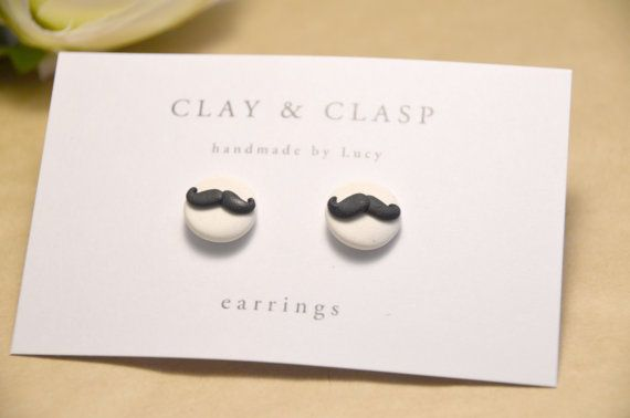 Moustache Earrings beautiful handmade polymer by ClayandClasp, $20.00