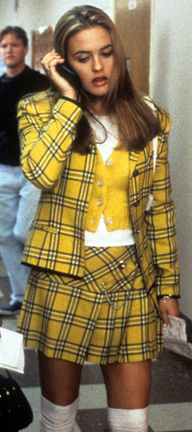 Cher wears a yellow plaid suit by Jean-Paul Gaultier #Clueless