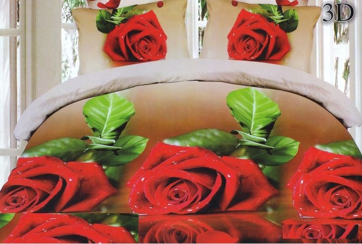 Hnedé obliečky na posteľ motív červenej ruže