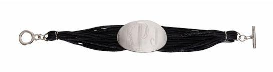 "Monogrammed Black Water Bracelet Stylish & Affordable!  7.25"" Length Toggle Closure Sterling Silver Plated 4 cm Disc"