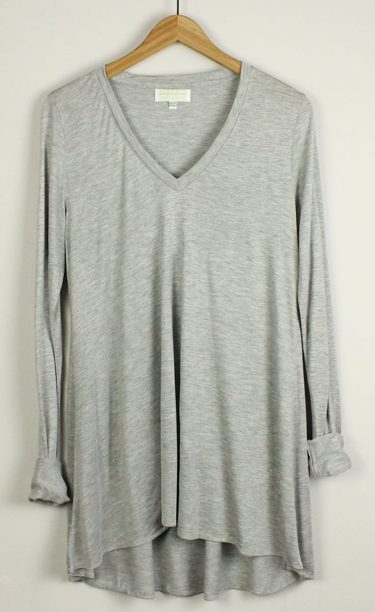 heather grey tunic, that's made in USA! Great w/leggings after a work-out or w/shorts or skinny jeans & ballet flats.