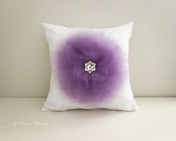 Pillow Covers Purple Pillow Cover Flower Pillow by NaraRha on Etsy, $35.00
