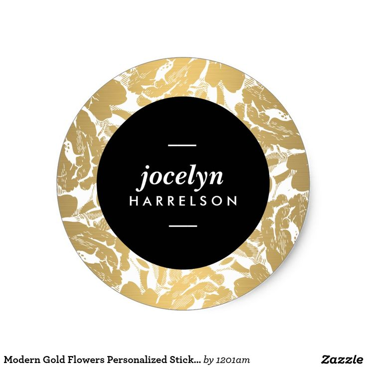 Shop modern gold flowers personalized stickers created by personalize it with photos text or purchase as is