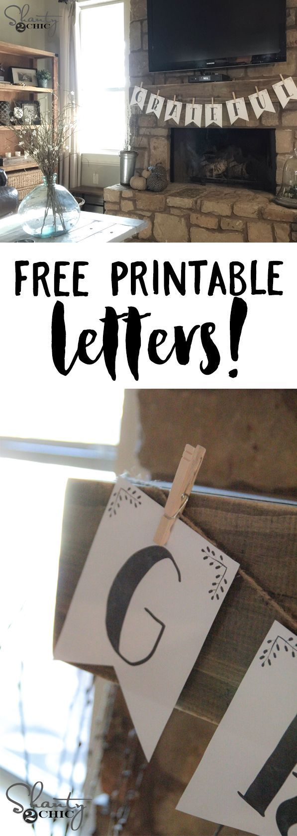 FREE printable letter banners! You can print the entire alphabet for free... Great for holidays and parties! www.shanty-2-chic...