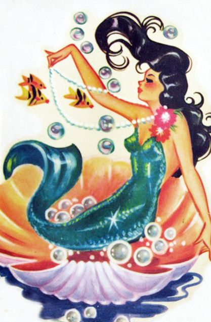 vintagegal:br br 1950s Meyercord Mermaid decal photo 1