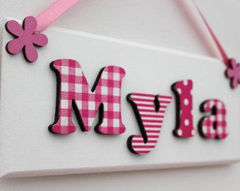 Childrenu0027s Wooden Bedroom Door Sign / Name By FlitterbeeCrafts