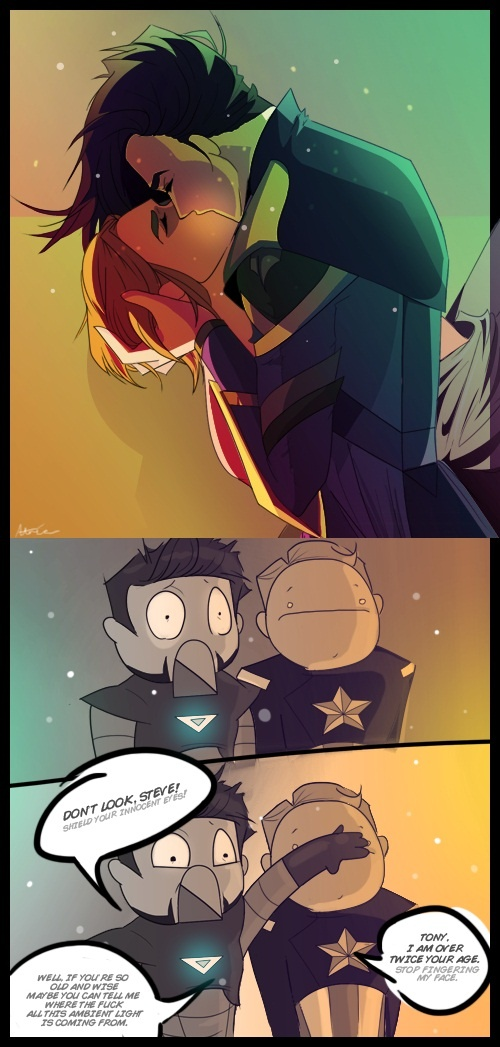 Im not sure who the top couple is. Loki and thor maybe? But whoever it is the bottom panels are still hilarious XD