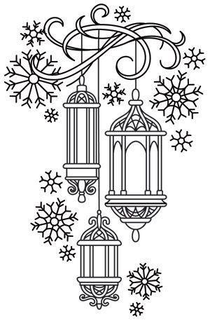 Lanterns in the Snow design (UTH7197) from UrbanThreads.com