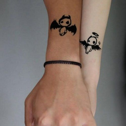 devil angel couple tattoos for lovers temporary tattoo   rosegrocery ...