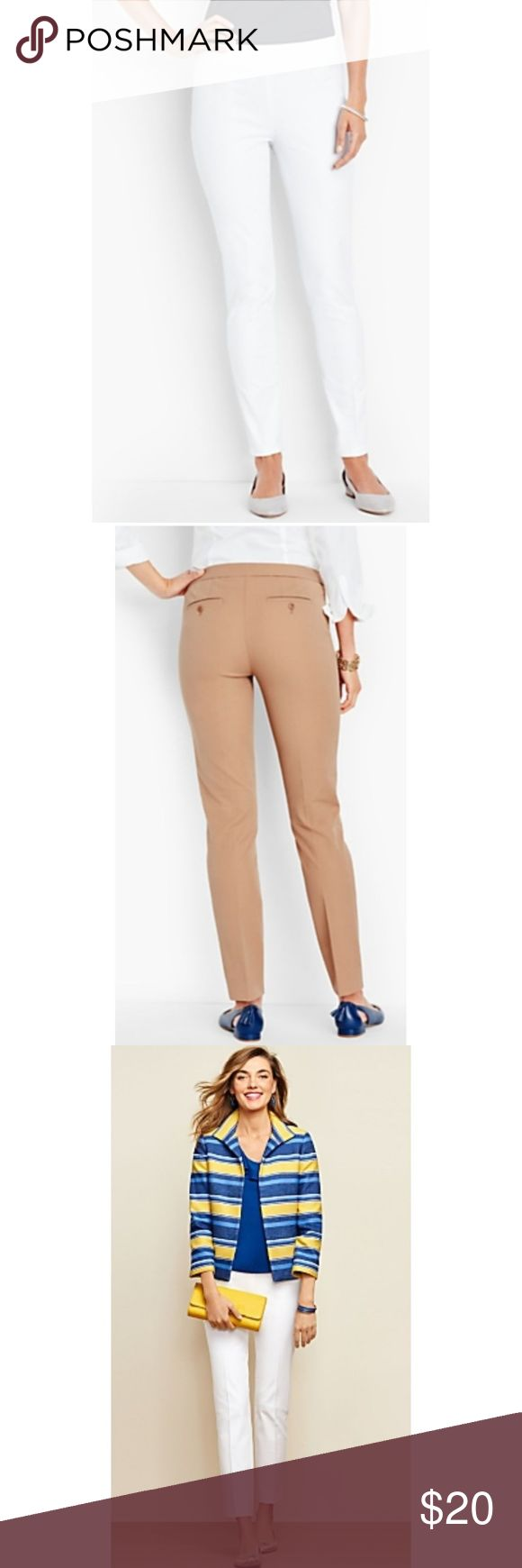 """Talbots Chatham ankle white petite pants Compact bi-stretch cotton and tailored in a slim legged ankle silhouette. Side zip. Two small closed pockets in front and two back welt buttons.  Pre-owned. In Great Condition!! No rips, stains or tears! Inseam: 26 1/2"""" Fabric: 52% cotton, 42% rayon, 6% spandex Talbots Pants Ankle & Cropped"""