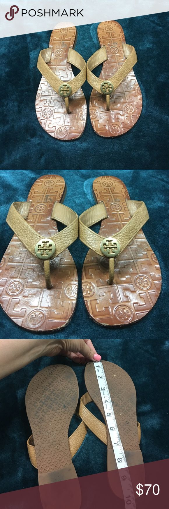 Tory Burch leather flip flop sandals Pebbled Leather Camel Color. Last two pics show gold Hardware pulling away from leather. True size 8M. Tory Burch Shoes Sandals
