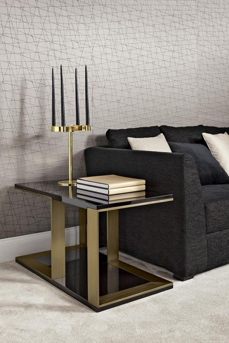 Small table Hector by Oasis, lacquered black and stain bronze finish.