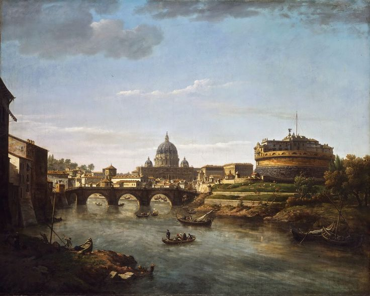 William Marlow - View of Rome from the Tiber [c.1775]  #18th #boat #Classic #Painting #River #William #Marlow