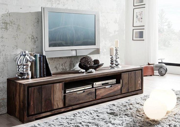 PURE SHEESHAM TV stolík #873 olejovaný indický palisander, sivá