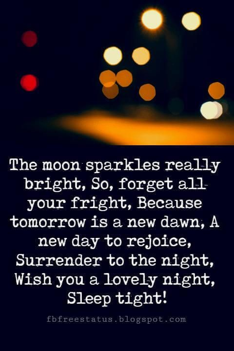 Image of: Wishes Quotes About Good Night The Moon Sparkles Really Bright So Forget All Your Fright Because Tomorrow Is New Dawn New Day To Rejoice Surrender To The Pinterest Good Night Quotes Messages Sayings With Beautiful Images
