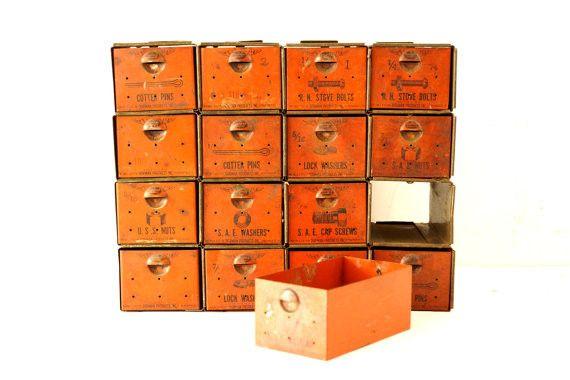 Vintage Dorman Parts Drawer Hardware Bin with 16 Drawers in Rustic Orange (c.1950s)