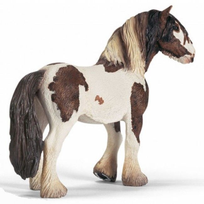#Schleich's Tinker Stallion is finely detailed and hand-painted. Tinker Horses are capable of pulling loads of over 185kg for extended periods of time. Selectively bred with horses such as Clydesdales and Frisians; the result is the strength of a draft horse with the height of a saddle horse #horses #figurines #animals #tinkerhorse