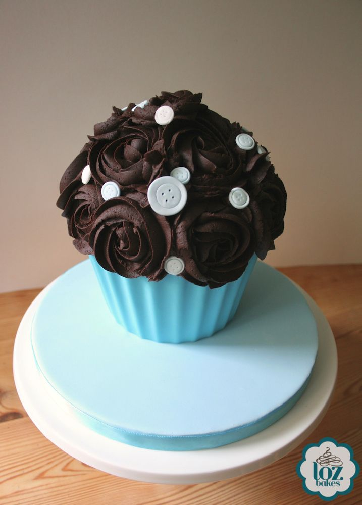 A rich, chocolatey giant cupcake for a baby shower.