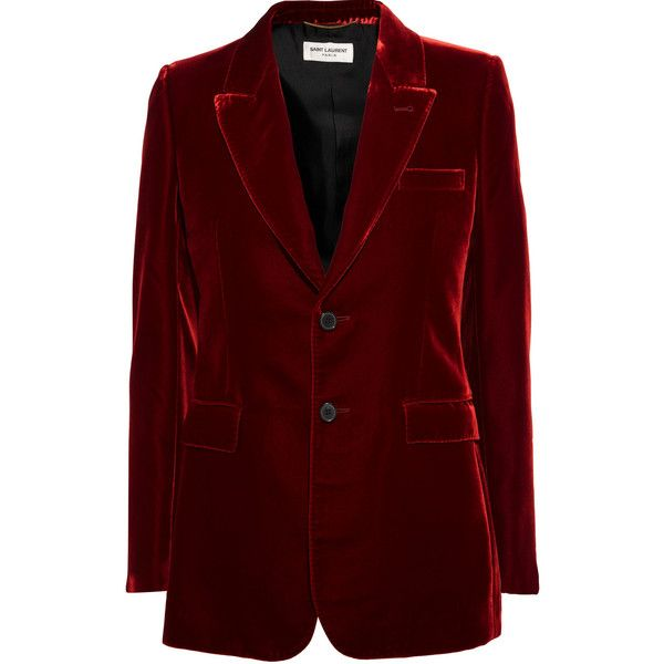 Saint LaurentAngie Velvet Blazer (€2.465) ❤ liked on Polyvore featuring outerwear, jackets, blazers, merlot, tailored blazer, slim fit jacket, slim jacket, blazer jacket and red velvet jacket