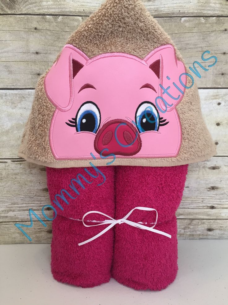 """Girl Pig Applique Hooded Bath Towel, Beach Towel 30"""" x 54"""" by MommysCraftCreations on Etsy"""