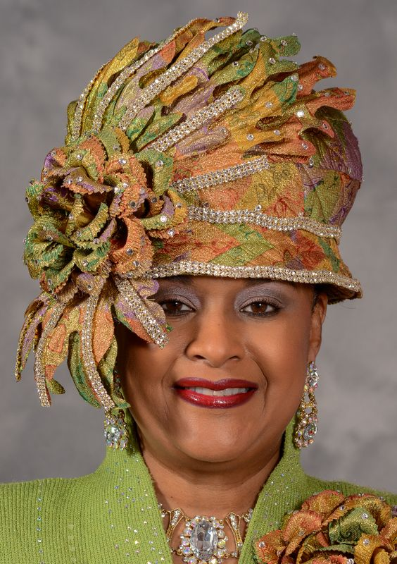Bubble Crown Metallic Church Hat Covered With Golden Green