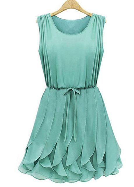 A Line Chiffon Sleeveless Pleated Dress for Lady | Rosewe.com