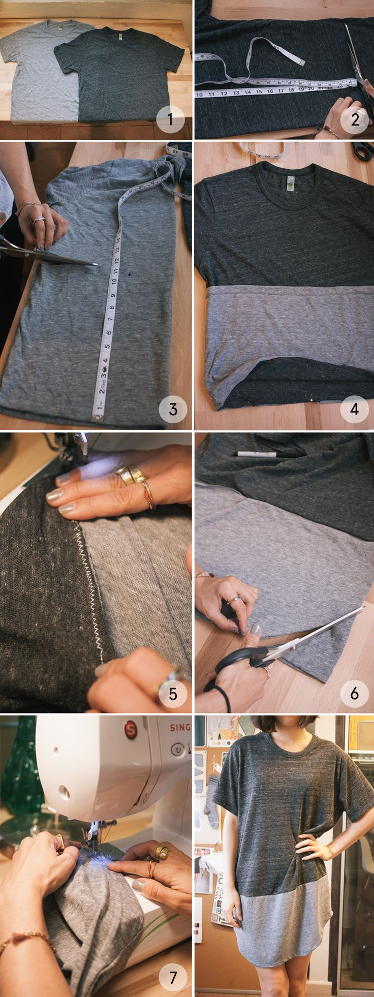 Dress up your t-shirt. Learn how to #DIY the color block tee dress.