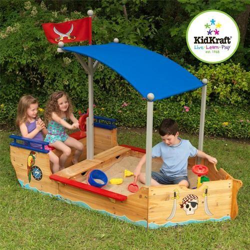 KidKraft Pirate Sandboat Wooden Outdoor Toy Gym Sandbox Sand Box Toddler Kid's..
