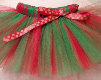 VENTA Navidad tutú bebé Tutu Tutu verde rojo por SugarSweetBows