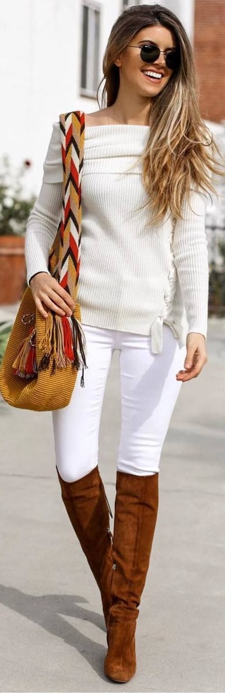 #fall #outfits white sweater pants brown boots