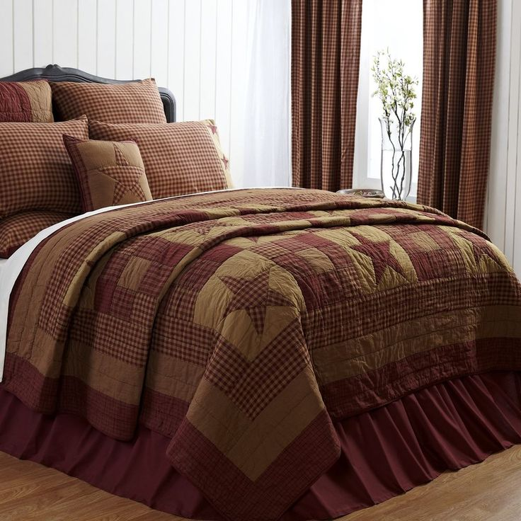 NINEPATCH STAR 3pc KING SIZE QUILT SET RED BROWN RUSTIC PRIMITIVE HANDQUILTED #VictorianHeart #RusticPrimitiveCountry