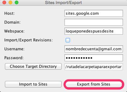 Importar Exportar Google Site Sites Export