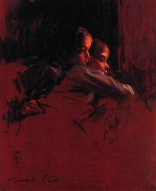 Red painting with two children is by Joaquín Torrents Llado (Mallorca, 1946 - 1993)