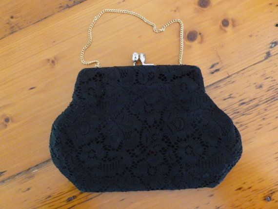 Vintage Evening Bag in Black Cut Lace with Gold Tone Metal Clasp and Chain from MuskRoseVintage