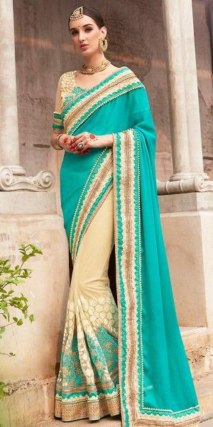Striking Teal Blue And Cream Chiffon Saree With Blouse.