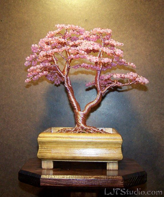 Beaded Cherry Blossom Wire Tree Sculpture Etsy Wire Tree Sculpture Metal Tree Wall Art Tree Sculpture