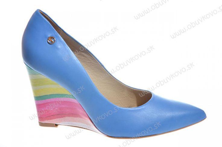 Kožené dámske lodičky LAURA MESSI 1236 blue