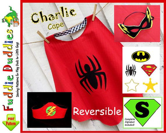 Charlie...Toddler's Superhero Cape Pattern, Superhero Costume Pattern, Batman, Spiderman, INSTANT DOWNLOAD. Halloween