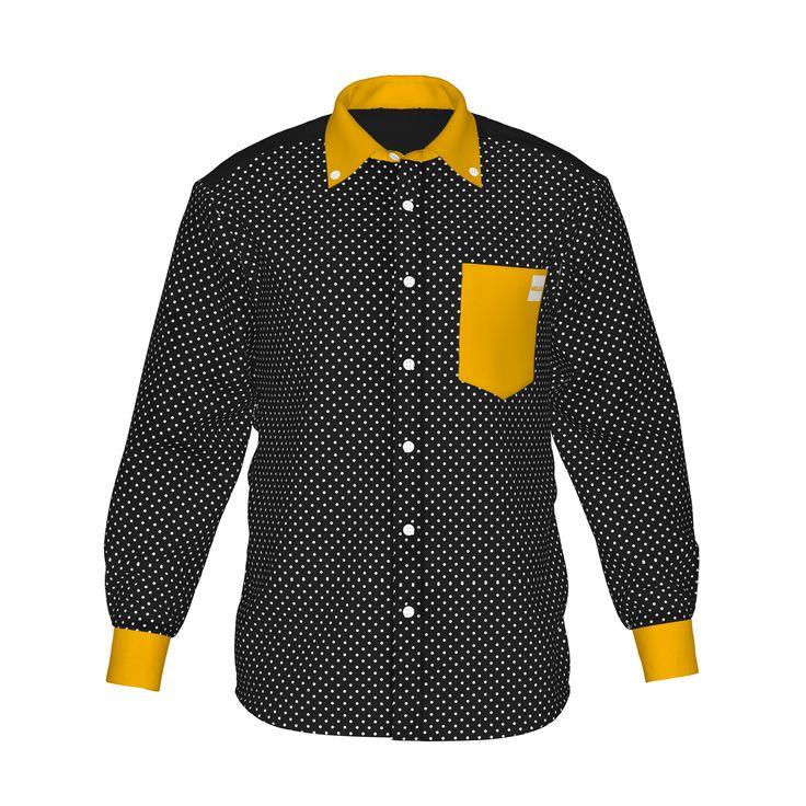 ●シャープでインパクトのある配色。●色で個性を際立たせ、柔らかな印象を感じるドット柄。●メンズ・レディース問わず着用していただけるデザイン。■「Hello」は『制服でも、ユニフォームでも、タウンファッションでも。演出シーンはあなた次第。』がコンセプト。 ■襟・袖・ポケットにアクセントカラーを使用した「HELLO」の「Accent」シリーズ。/HELLO Accent01 BLK - 黒(白ドット)×橙 - HELLO