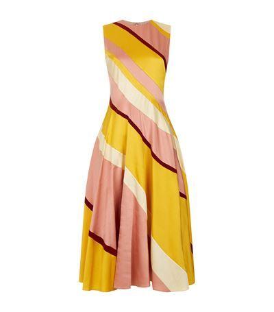 Roksanda Woman Lucine Striped Hammered Silk-satin Midi Dress Yellow Size 10 Roksanda Ilincic ZBkqOSkO