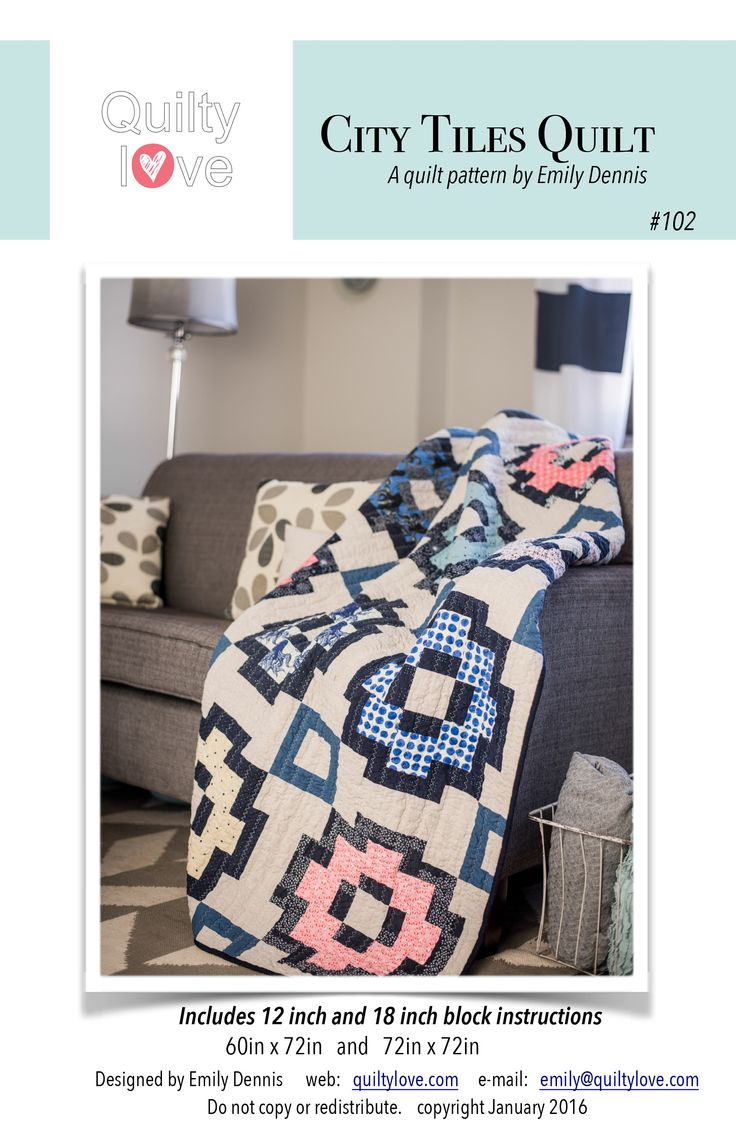 Includes instructions to make a 12inch block and 18inch block quilt.   The 12inch block finished quilt size is 60in x 72in.   The 18in block finished quilt size is 72in x 72in.This fun and modern quilt pattern shows off your favorite print fabrics. Each block uses a minimal amount of print fabric so a little bundle goes a long way.  This pattern is Fat Eighth and Fat Quarter friendly.    Make fewer blocks for a smaller quilt and add blocks for a larger quilt.This pattern...